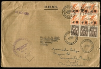 Lot 436 [3 of 3]:1958 (28 Oct) OHMS Airmail Cover with 1d Headdresses strip of 3 and 4d on 2½d Bird block of 6 with 4 strikes of 'KONEDOBU' cds to London, also a similar cover (9 Oct) & 1959 (2 Mar ) cover with 9d Copra (3) to London, all to same addressee and all re-directed to Australia. 1959 (3 Dec ) registered cover to Aust from Lae with 17 stamps incl few 1952-58 issues (12) to 2/6d and 1958 1/7d Cattle & 5/- Coffee, plus few later FDCs. Mixed condition. (13)