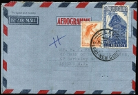 Lot 469:Formular Stationery - Aerogrammes: 1954-58 design similar to Australian 10d aerogramme ACSC A8 with 2½d Bird & 6½d Hut tied by LAE cds and commercially used to GB in 1958, ACSC FA3E.