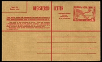 Lot 435 [2 of 2]:Registered Envelopes: 1953 1/0½d brown, 1/7d red (2), all unused. ACSC #2-3. (3)