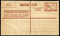 Lot 435 [1 of 2]:Registered Envelopes: 1953 1/0½d brown, 1/7d red (2), all unused. ACSC #2-3. (3)