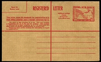 Lot 470 [2 of 2]:Registration Envelopes: 1953 1/0½d brown, 1/7d red (2), all unused. ACSC #2-3. (3)