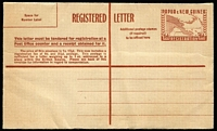 Lot 470 [1 of 2]:Registration Envelopes: 1953 1/0½d brown, 1/7d red (2), all unused. ACSC #2-3. (3)