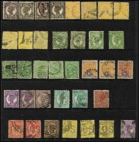 Lot 349 [2 of 3]:1860s-1912 Accumulation incl few Chalons to 1/-, range of Sidefaces to 2/- green or brown, Large Chalons (9) to £1 all with fiscal cancels, several other issues also fiscally cancelled, few perf 'OS'. (130+)