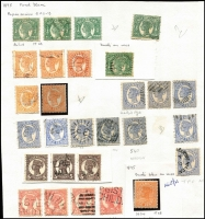 Lot 393 [2 of 4]:1860s-1912 Collection incl 1860-63 3d brown, range of later issues to 5d (3), 6d (6), 2/- brown, minor varieties throughout incl few 'LA joined', mint incl 1882-91 1/-, 1890 3d brown (2), also 40 used 1892-95 1/- mauve all fiscally cancelled. Mixed condition. (150+)