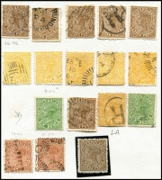 Lot 393 [1 of 4]:1860s-1912 Collection incl 1860-63 3d brown, range of later issues to 5d (3), 6d (6), 2/- brown, minor varieties throughout incl few 'LA joined', mint incl 1882-91 1/-, 1890 3d brown (2), also 40 used 1892-95 1/- mauve all fiscally cancelled. Mixed condition. (150+)