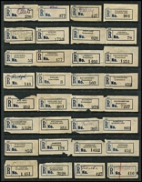 Lot 357 [2 of 3]:Collection: on 8 Hagners of C5 blue seriffed 'R' labels from 'Adavale' to 'Yeulba' with many mss, handstamped or typed provisional labels, various labels with 'Queensland' or 'QUEENSLAND', also few misplaced town names incl Ingham. Mixed condition. (250+)