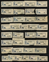 Lot 357 [3 of 3]:Collection: on 8 Hagners of C5 blue seriffed 'R' labels from 'Adavale' to 'Yeulba' with many mss, handstamped or typed provisional labels, various labels with 'Queensland' or 'QUEENSLAND', also few misplaced town names incl Ingham. Mixed condition. (250+)