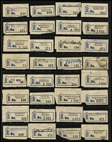 Lot 358 [2 of 4]:Collection: on 10 Hagners of C5 blue seriffed 'R' labels from 'Adavale' to 'Yeppoon' with many mss or handstamped provisional labels, various labels with 'Queensland' or 'QUEENSLAND', also few misplaced numbers or town names (Clermont, Harrisville, Mt. Larcom). Light duplication. Mixed condition. (270+)