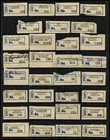 Lot 358 [3 of 4]:Collection: on 10 Hagners of C5 blue seriffed 'R' labels from 'Adavale' to 'Yeppoon' with many mss or handstamped provisional labels, various labels with 'Queensland' or 'QUEENSLAND', also few misplaced numbers or town names (Clermont, Harrisville, Mt. Larcom). Light duplication. Mixed condition. (270+)
