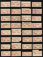 Lot 359 [2 of 5]:Collection: on 38 Hagners of C1, C2, C3, C3a, C3b red labels with curved or seriffed 'R' labels from 'Adavale' to 'Yimbun' with various mss, typed or handstamped provisional labels, various labels with 'Queensland' or 'QUEENSLAND', some with no 'State' mentioned, other varieties incl curved 'R' in Brisbane & Cairns, name changes from 'Baglan' to Rockhampton', 'Rannes' to 'Goovicen'. Many of these offices represented in this collection have been closed for many years. Mixed condition. (1,150)