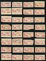 Lot 359 [3 of 5]:Collection: on 38 Hagners of C1, C2, C3, C3a, C3b red labels with curved or seriffed 'R' labels from 'Adavale' to 'Yimbun' with various mss, typed or handstamped provisional labels, various labels with 'Queensland' or 'QUEENSLAND', some with no 'State' mentioned, other varieties incl curved 'R' in Brisbane & Cairns, name changes from 'Baglan' to Rockhampton', 'Rannes' to 'Goovicen'. Many of these offices represented in this collection have been closed for many years. Mixed condition. (1,150)