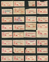 Lot 359 [1 of 5]:Collection: on 38 Hagners of C1, C2, C3, C3a, C3b red labels with curved or seriffed 'R' labels from 'Adavale' to 'Yimbun' with various mss, typed or handstamped provisional labels, various labels with 'Queensland' or 'QUEENSLAND', some with no 'State' mentioned, other varieties incl curved 'R' in Brisbane & Cairns, name changes from 'Baglan' to Rockhampton', 'Rannes' to 'Goovicen'. Many of these offices represented in this collection have been closed for many years. Mixed condition. (1,150)