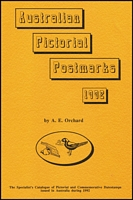 Lot 133 [1 of 2]:Australia: 'Australian Permanent Pictorial Postmarks to 1987' by A.E. Orchard, published by Magpie Press, Tas. 135pp. Also 'Australian Pictorial Postmarks 1988, 1989, 1990, 1991, 1992 and 1993, 524pp. All by Magpie Press. Australian Commemorative Hand Postmarks by H. Sorge, 2nd Edition Re-arranged by A.E. Orchard, and 1987 Supplement. (9)