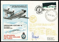Lot 490 [3 of 4]:1957-82 Covers incl 1957 set on FDC, 1958 Antarctic Meeting cds (2 different cds [see The Postmarks of Ross Dependency by Jurisich]), 1963 Maiden Voyage of HMNZS 'Endeavour' to Antarctica with cachet, 1963 Vice-Regal Visit cds, RNZAF 'Operation Icecube' signed covers (7 different) with cachets (some coloured) on front & reverse, etc. 1963 Maiden Voyage to Antarctica of 'HMNZS Endeavour' with cachet, 1963 Vice-Regal Visit cds, RNZAF Operation Icecube 10 (2), 11 (2), 13, 14 & 15 signed covers with cachets (some coloured) on front and backs of covers, 1982 25th Anniv of 1st Flight in the Antarctic. (15)