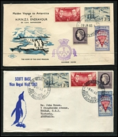 Lot 490 [1 of 4]:1957-82 Covers incl 1957 set on FDC, 1958 Antarctic Meeting cds (2 different cds [see The Postmarks of Ross Dependency by Jurisich]), 1963 Maiden Voyage of HMNZS 'Endeavour' to Antarctica with cachet, 1963 Vice-Regal Visit cds, RNZAF 'Operation Icecube' signed covers (7 different) with cachets (some coloured) on front & reverse, etc. 1963 Maiden Voyage to Antarctica of 'HMNZS Endeavour' with cachet, 1963 Vice-Regal Visit cds, RNZAF Operation Icecube 10 (2), 11 (2), 13, 14 & 15 signed covers with cachets (some coloured) on front and backs of covers, 1982 25th Anniv of 1st Flight in the Antarctic. (15)