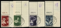 Lot 1508 [2 of 2]:1951 National Relief Fund set, corner examples with sheet value price at top right, all with 'SAARBRŰCKEN' cds. Mi #309-13, Cat €200. (5)