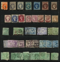 Lot 362 [2 of 5]:1850s-1912 Accumulation on 10 Hagners with few earlies incl 1866-1900 3d on 4d (black opt), 8d on 9d, 1882 ½d in 1d, 1891 2½d on 4d (2), 5d on 6d (2), various 'Long Toms' (31) to 2/6d (2), good selection of Officials with values to 1/- (4), 2/-, range of later lower values with postmark potential, also small selection of perf 'OS' & 'SA' and private perfins. Mixed condition. (100s)