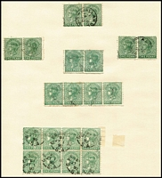 Lot 1135 [2 of 5]:Volumes 4 & 5 of the HS Evans Collection. Incredible work in 2 albums based on Robson Lowe Encyclopedia with a wealth of varieties, postmarks, multiples incl ½d brown double perfs, 1d green numerous multiples incl a block of 8, 2d orange blocks of 12, 18 & 30, 1891 2½d on 4d (56), range of Long Toms etc. Well worth inspection. Generally fine. (3kg+).