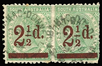 Lot 1135 [1 of 5]:Volumes 4 & 5 of the HS Evans Collection. Incredible work in 2 albums based on Robson Lowe Encyclopedia with a wealth of varieties, postmarks, multiples incl ½d brown double perfs, 1d green numerous multiples incl a block of 8, 2d orange blocks of 12, 18 & 30, 1891 2½d on 4d (56), range of Long Toms etc. Well worth inspection. Generally fine. (3kg+).