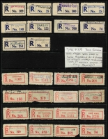 Lot 382 [2 of 4]:Registered Label Collection: on 40+ Hagners with numerous 'Red types' incl 'S.1A to Blue S.5' (or M3 issued in S.A. & N.T. used in provisional form only), 'Blue type' incl 'C.1.' to 'C.5a' (various types- red or blue), 'C.5', (Adelaide to Yorketown), numerous provisional manuscript, handstamped or typed labels. Also a selection of (Victorian) Type V2B provisional labels in red. Several types on cover incl red 'Goodwood' on 1943 cover, plus 1935 (21 Aug) registered 1st Transcontinental Airways Service cover Dawin-Adelaide with provisional label [see AAMC 523]. etc. Generally fine. (1,000s)