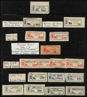 Lot 382 [3 of 4]:Registered Label Collection: on 40+ Hagners with numerous 'Red types' incl 'S.1A to Blue S.5' (or M3 issued in S.A. & N.T. used in provisional form only), 'Blue type' incl 'C.1.' to 'C.5a' (various types- red or blue), 'C.5', (Adelaide to Yorketown), numerous provisional manuscript, handstamped or typed labels. Also a selection of (Victorian) Type V2B provisional labels in red. Several types on cover incl red 'Goodwood' on 1943 cover, plus 1935 (21 Aug) registered 1st Transcontinental Airways Service cover Dawin-Adelaide with provisional label [see AAMC 523]. etc. Generally fine. (1,000s)