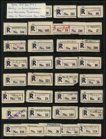 Lot 382 [1 of 4]:Registered Label Collection: on 40+ Hagners with numerous 'Red types' incl 'S.1A to Blue S.5' (or M3 issued in S.A. & N.T. used in provisional form only), 'Blue type' incl 'C.1.' to 'C.5a' (various types- red or blue), 'C.5', (Adelaide to Yorketown), numerous provisional manuscript, handstamped or typed labels. Also a selection of (Victorian) Type V2B provisional labels in red. Several types on cover incl red 'Goodwood' on 1943 cover, plus 1935 (21 Aug) registered 1st Transcontinental Airways Service cover Dawin-Adelaide with provisional label [see AAMC 523]. etc. Generally fine. (1,000s)