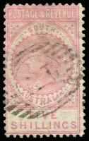 Lot 1141 [2 of 3]:1886-96 'POSTAGE & REVENUE' 2/6d, 5/- & 10/-, SG #195-7, fine used. Retail $185. (3)
