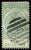 Lot 1141 [1 of 3]:1886-96 'POSTAGE & REVENUE' 2/6d, 5/- & 10/-, SG #195-7, fine used. Retail $185. (3)
