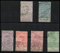 Lot 1142 [2 of 2]:1886-96 'POSTAGE & REVENUE' P10 2/6d, £1, P11½ 2/6d, 5/- (2), 10/-, 15/-. Retail $700. (7)