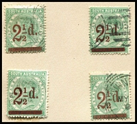 Lot 386:1891-93 P15 2½d on 4d green, '2' and '½d' closer, four fine used examples. SG #233b Cat £88. (4)