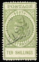 Lot 387 [1 of 2]:1904-11 POSTAGE P12 5/- (thin), 10/- green, SG #290-91, Cat £198. Retail $160 (2)