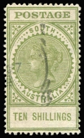 Lot 388:1904-11 POSTAGE P12½ 5/- (faults) & 10/- green, SG #290b-91, Cat £220. Retail $160 (2)