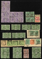 Lot 377 [1 of 2]:Collection of multiples with 1883-99 3d green (25, incl 5 pairs, a strip of 3 & 3 blocks of 4), 4d violet (14, block of 6 & block of 8), 1891 2½d on 4d (9, incl block of 4, a pair, 2 singles & one on 1892 cover to USA). (61 + 2 covers.)