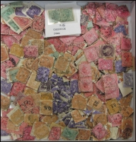 Lot 403:Queen Victoria period off-paper selection, plenty of squared-circles. Few multiples. Approx 40+g. (100s)