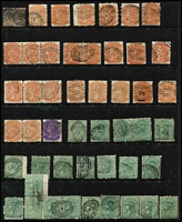 Lot 382 [2 of 2]:Diamond Numeral Cancels accumulation with some duplication incl 2d block of 15 plus 2 strips of 3 all with '227' (Adelaide PO), several with special 'S.AUSTRALIA/R' cancels, two 'PORT DARWIN' cds on ½d brown bantam pair & strip of 3, etc. (50+ Items)