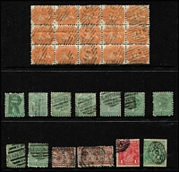 Lot 382 [1 of 2]:Diamond Numeral Cancels accumulation with some duplication incl 2d block of 15 plus 2 strips of 3 all with '227' (Adelaide PO), several with special 'S.AUSTRALIA/R' cancels, two 'PORT DARWIN' cds on ½d brown bantam pair & strip of 3, etc. (50+ Items)