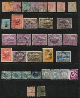Lot 365 [2 of 2]:1853-1912 Collection incl 1853 Imperf Courier (4 margins and thinned), 1856-57 No wmk 4d, 1863-71 1d (2), 2d, 4d, few Pictorials to 6d (2), 1870-78 Sidefaces incl 3d brown with Line through 'THREE PE' (SG #146da), 1871 'SPECIMEN' opts on 3d & 10d, few perf 'T', Revenues, etc. Mixed condition. (92)