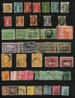 Lot 365 [1 of 2]:1853-1912 Collection incl 1853 Imperf Courier (4 margins and thinned), 1856-57 No wmk 4d, 1863-71 1d (2), 2d, 4d, few Pictorials to 6d (2), 1870-78 Sidefaces incl 3d brown with Line through 'THREE PE' (SG #146da), 1871 'SPECIMEN' opts on 3d & 10d, few perf 'T', Revenues, etc. Mixed condition. (92)