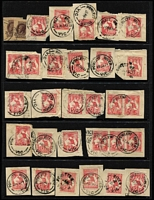 Lot 399 [2 of 3]:Datestamps on Pictorials: selection of better cancels on 1d & 2d values or 1d & 2d Sidefaces, some duplication; also Victoria 'Powlett River' pmks on 1d Kangaroo pieces x47, mostly fine. (Approx 100)