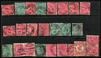 Lot 399 [3 of 3]:Datestamps on Pictorials: selection of better cancels on 1d & 2d values or 1d & 2d Sidefaces, some duplication; also Victoria 'Powlett River' pmks on 1d Kangaroo pieces x47, mostly fine. (Approx 100)