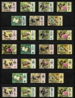 Lot 104 [3 of 6]:Butterflies: Afghanistan to Zambia on 100+ Hagners incl Arab States, Belize 1974-75 (16), North Korea, Hungary, Malaysia & States, Manama, Mozambique 1953 (20), Nicaragua, Norfolk, Romania, Russia, Sri Lanka, Thailand, Tuvalu, Vietnam, etc. Generally fine. (100s)
