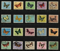 Lot 104 [1 of 6]:Butterflies: Afghanistan to Zambia on 100+ Hagners incl Arab States, Belize 1974-75 (16), North Korea, Hungary, Malaysia & States, Manama, Mozambique 1953 (20), Nicaragua, Norfolk, Romania, Russia, Sri Lanka, Thailand, Tuvalu, Vietnam, etc. Generally fine. (100s)