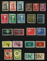 Lot 89 [1 of 4]:Europa Collection: on 80 Hagners incl Andorra (French & Spanish), Austria, Belgium, Cyprus, Denmark, Faröe Islands, Finland, France, Germany West, Gibraltar, Great Britain, Greece, Guernsey, Iceland, Ireland, Isle of Man, Jersey, Italy, Liechtenstein, Luxembourg incl 1956 (3), 1957 (3) both sets used, Malta, Monaco, Netherlands, Norway, Portugal, San Marino, Spain, Sweden, Switzerland, Turkey, Yugoslavia. High cat value. (2.3kg). (100s)