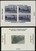 Lot 107 [3 of 6]:Trains: Four albums with 50+ Hagners incl M/Ss or sheetlets incl Bhutan 1990 Steam Railway Locomotives M/Ss (12, Cat £70), Canada, Cuba, Equatorial Guinea (2), GB incl Locals, Ivory Coast, Liberia (3), Monaco 1968 Monaco-Nice Railway (6, MLH), NZ 1985 Horowhenua Centennial Train, 1986 Wellington-Manawatu Railway Centennial Steam Express, 1988-95 Glenbrook Vintage Railway sheetlets (14), Niger (3), Paraguay 19 issues optd 'MUESTRA', Russia, St. Lucia, St. Vincent & Grenadines, Tanzania, Togo, Tuvalu, USA, Vietnam, etc. Generally fine. HEAVY LOT (Few 100)