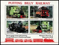 Lot 108 [3 of 7]:Trains Australia: 1970s-90s Accumulation of train related covers & PPCs with numerous commem & some TPO pmks, many unused, few 'Local' issues incl M/Ss, etc; plus selection of Puffing Billy items. (Few 100)