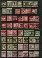 Lot 490 [2 of 4]:Pre-Cancels Collection on 9 Hagners with few on Parcel Post issues, Postage Dues, coils, many different types - 2 line, 3 line, etc, some misplaced opts, inverted or sideways opts, no apparent duplication. Generally fine. (460)