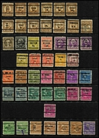 Lot 490 [3 of 4]:Pre-Cancels Collection on 9 Hagners with few on Parcel Post issues, Postage Dues, coils, many different types - 2 line, 3 line, etc, some misplaced opts, inverted or sideways opts, no apparent duplication. Generally fine. (460)