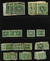 Lot 491 [3 of 5]:Wines Revenue 1916-41 Accumulation incl 1916 72c green (7, Cat in Scott US$37.50 each) many later issues with values to $1.20 (25), also Puerto Rico Rectified Spirits 2c green (22) & 60c brown (18). Mixed condition. (Approx 200)
