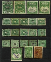 Lot 491 [1 of 5]:Wines Revenue 1916-41 Accumulation incl 1916 72c green (7, Cat in Scott US$37.50 each) many later issues with values to $1.20 (25), also Puerto Rico Rectified Spirits 2c green (22) & 60c brown (18). Mixed condition. (Approx 200)
