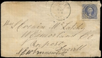 Lot 1734 [1 of 2]:1870 Cover to New Brunswick with 6d blue Washington, with grill, cancelled with 'HOLDEN/MAR24/MASS